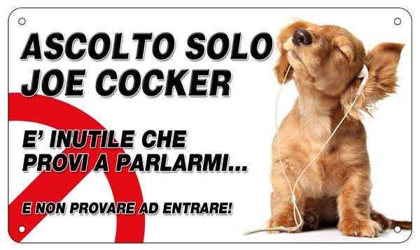 Cartello attenti al cane cocker
